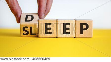Sleep Deep Symbol. Doctor Turns A Wooden Cube With Words Sleep Deep. Beautiful Yellow Table, White B