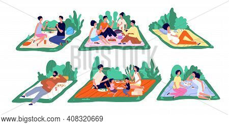 Family Picnic. Fun Nature Picnics, Flat Families Eat Outside Together. Cartoon People Relax, Couple