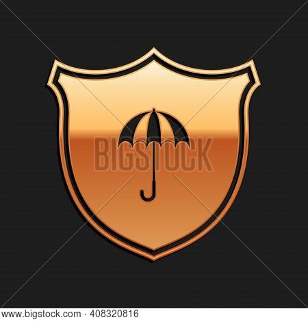Gold Waterproof Icon Isolated On Black Background. Shield And Umbrella. Water Protection Sign. Water
