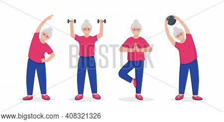 Senior Woman Doing Exercises. Active And Healthy Lifestyle And Fitness For Retired People Concept. V