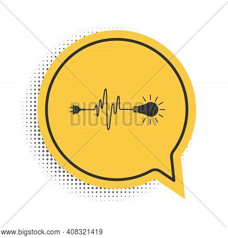 Black Wire Plug And Light Bulb Icon Isolated On White Background. Plug, Lamp And Cord In The Form Of