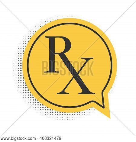 Black Medicine Symbol Rx Prescription Icon Isolated On White Background. Yellow Speech Bubble Symbol