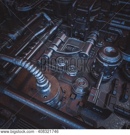 abstract sci-fi background with cables and pipes. 3d render.