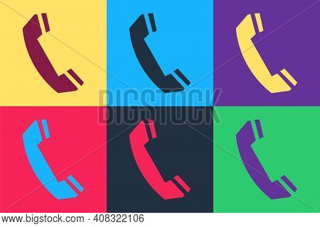 Pop Art Telephone Handset Icon Isolated On Color Background. Phone Sign. Call Support Center Symbol.