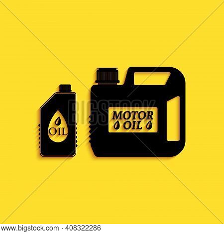 Black Plastic Canister For Motor Machine Oil Icon Isolated On Yellow Background. Oil Gallon. Oil Cha