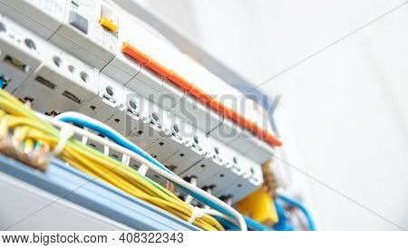 Electric Switchboard Control Panel Enclosure For Distribution And Power Electricity White Background