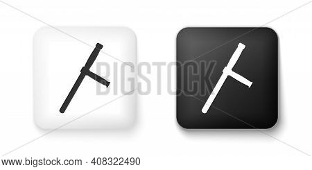 Black And White Police Rubber Baton Icon Isolated On White Background. Rubber Truncheon. Police Bat.