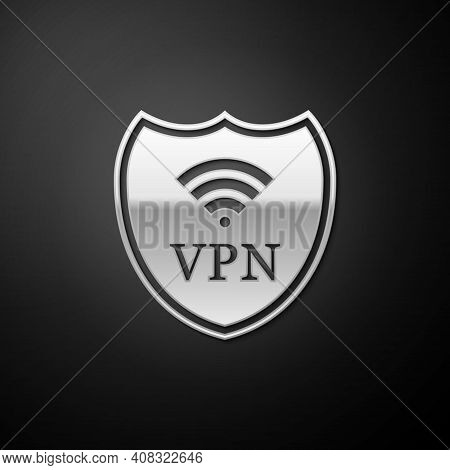 Silver Shield With Vpn And Wifi Wireless Internet Network Icon Isolated On Black Background. Vpn Pro