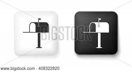 Black And White Open Mail Box Icon Isolated On White Background. Mailbox Icon. Mail Postbox On Pole