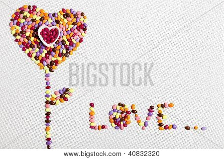 Colorful Candies Heart Flower