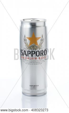 IRVINE, CA - JANUARY 12, 2015: A can of Sapporo Beer isolated on white. The Japanese brewery was founded in 1876 by German trained brewer Seibei Nakagawa. It is the oldest beer brand in Japan.
