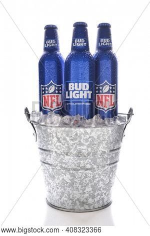 IRVINE, CALIFORNIA - JANUARY 13, 2017: Bud Light Aluminum Bottles in ice bucket. The resealable bottles feature the NFL and Super Bowl LI logos.
