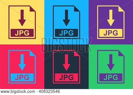 Pop Art Jpg File Document Icon. Download Jpg Button Icon Isolated On Color Background. Vector