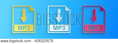 Paper Cut Mp3 File Document Icon. Download Mp3 Button Icon Isolated On Blue Background. Paper Art St