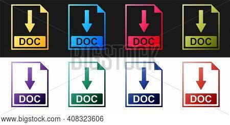 Set Doc File Document Icon. Download Doc Button Icon Isolated On Black And White Background. Vector
