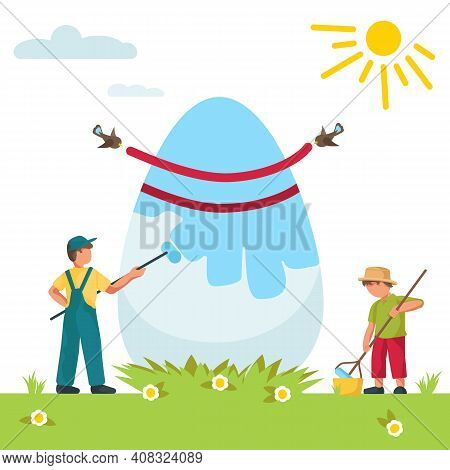 Happy Easter. Cute Kids Decorate Big Easter Egg, Isolated On White Background. Spring, Sun, Green Gr