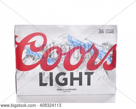 IRVINE, CALIFORNIA - JANUARY 8, 2017: Coors Light 36 pack. Coors Light is a lager style beer brewed by Coors Brewing Company in Golden, Colorado.