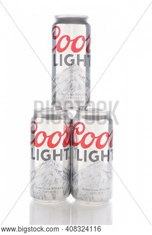IRVINE, CALIFORNIA - JANUARY 8, 2017: Coors Light cans. Coors Light is a lager style beer brewed by Coors Brewing Company in Golden, Colorado.