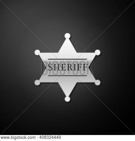 Silver Hexagonal Sheriff Star Icon Isolated On Black Background. Sheriff Badge Symbol. Long Shadow S