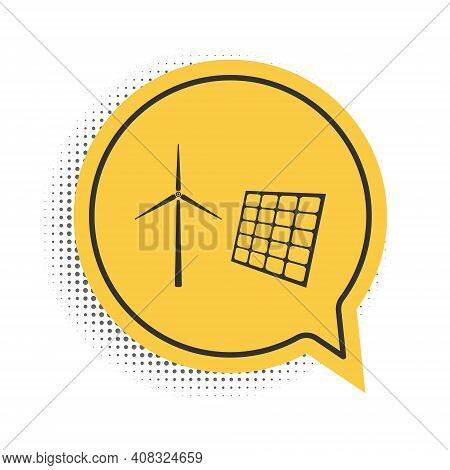 Black Wind Mill Turbines Generating Electricity And Solar Panel Icon Isolated On White Background. E