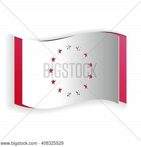 Paper Cut Flag Of European Union Icon Isolated On White Background. Eu Circle Symbol. Waving Eu Flag