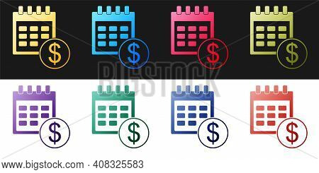 Set Financial Calendar Icon Isolated On Black And White Background. Annual Payment Day, Monthly Budg
