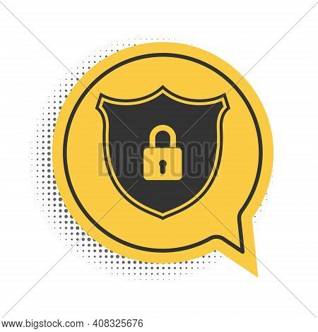 Black Shield Security With Lock Icon Isolated On White Background. Protection, Safety, Password Secu
