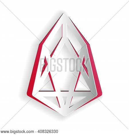 Paper Cut Cryptocurrency Coin Eos Icon Isolated On White Background. Physical Bit Coin. Digital Curr
