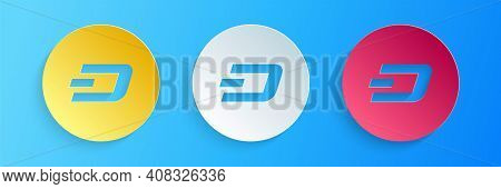 Paper Cut Cryptocurrency Coin Dash Icon Isolated On Blue Background. Physical Bit Coin. Digital Curr