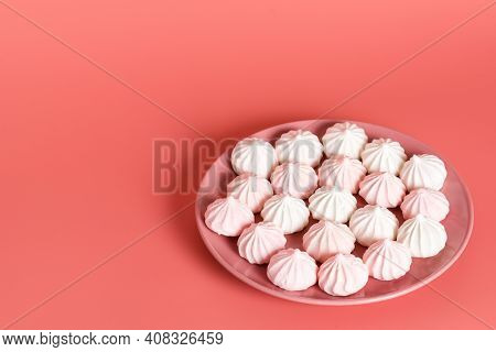 Meringue Is A Dessert And The Basis Of Many Confectionery Products, Which Is Whipped And Baked Egg W