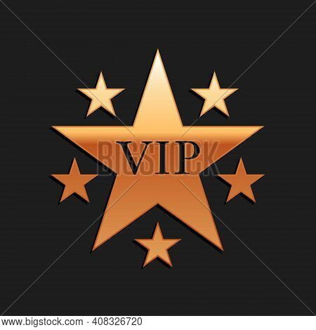 Gold Star Vip With Circle Of Stars Icon Isolated On Black Background. Long Shadow Style. Vector