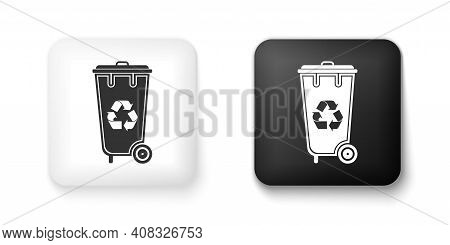 Black And White Recycle Bin With Recycle Symbol Icon Isolated On White Background. Trash Can Icon. G