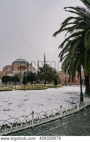 Istanbul, Turkey - February 15, 2020: Istanbul Winter A Day. St. Sophia Cathedral In Snow.people Wal