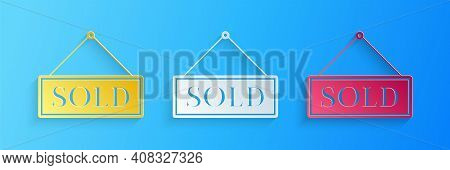 Paper Cut Sold Icon Isolated On Blue Background. Sold Sticker. Sold Signboard. Paper Art Style. Vect