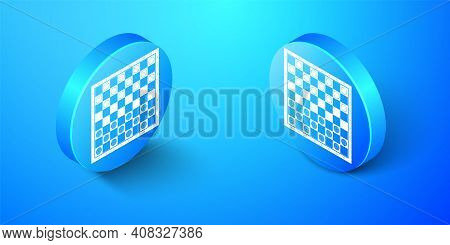 Isometric Board Game Of Checkers Icon Isolated On Blue Background. Ancient Intellectual Board Game.