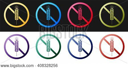 Set Gluten Free Grain Icon Isolated On Black And White Background. No Wheat Sign. Food Intolerance S