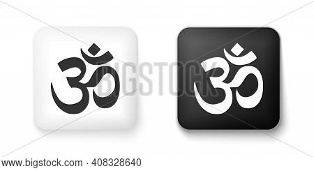 Black And White Om Or Aum Indian Sacred Sound Icon Isolated On White Background. The Symbol Of The D
