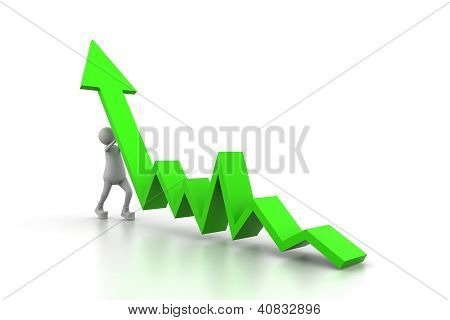 Man climb blue growth arrow