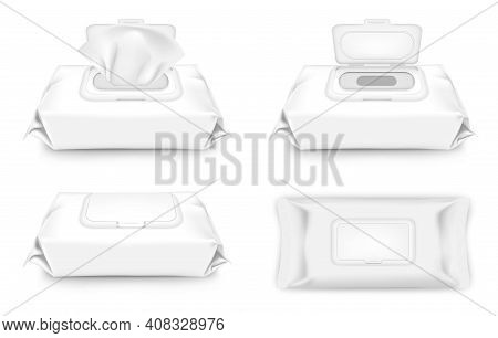 Realistic Detailed 3d Blank White Cleaning Wipes Set Empty Template Mockup . Vector Illustration Of