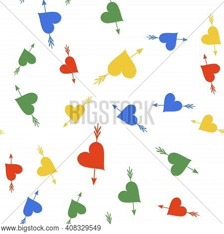Color Amour Symbol With Heart And Arrow Icon Isolated Seamless Pattern On White Background. Love Sig