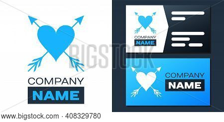 Logotype Heart With Arrow Icon Isolated On White Background. Happy Valentines Day. Cupid Dart Pierce