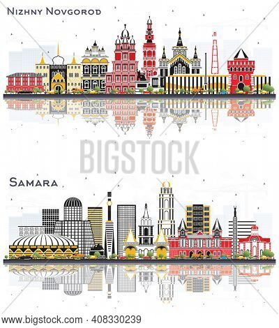 Samara and Nizhny Novgorod Russia City Skyline with Color Buildings and Reflections Isolated on White Background. Landmarks.