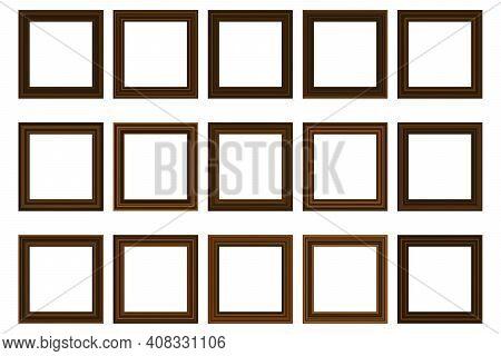 Big Set Of Squared Vintage Wooden Frame For Your Design. Vintage Cover. Place For Text. Vintage Anti