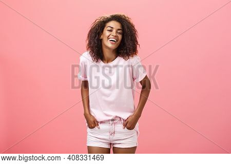 Brighten Up Life With Smile. Carefree Charismatic Happy African American Female With Afro Hairstyle
