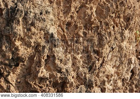 Rock Formation Texture. Natural Eroded Sandstone Pattern. Erosion Texture On Rock Formations. Rock S