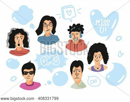 Flat Avatars And Speech Bubbles. People Emotional Faces And Speech Balloons. Men And Women Talking.