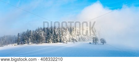 Winter Monring Landscape. Snowy Plains And Frozen Trees In Foggy Freezing Morning. Lusatian Mountain