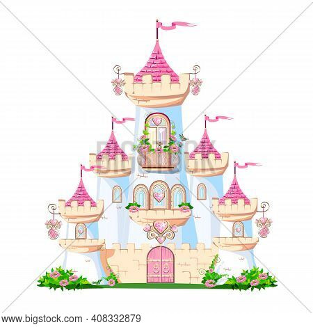 A Beautiful Pink Castle Of A Beautiful Princess With A Balcony And Heart-shaped Jewels, Towers, Wind
