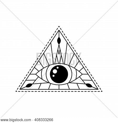 Vector Illustration Line Mystic Eye Tattoo. Providence Sight In Triangle. Geometric Line Evil Eye. S