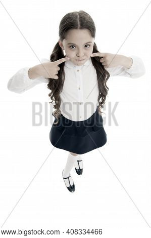 Keep Silence. Strict School Rules. September Time To Study. Girl Cute Pupil On White Background. Sch
